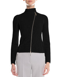 Piped Asymmetric Zip-Front Jacket, Black