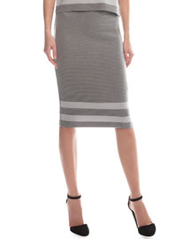 Ribbed Border Striped Pencil Skirt, Gray/Light Gray