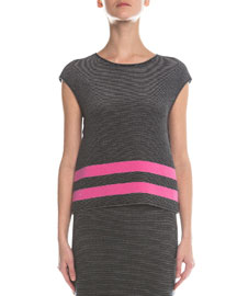 Ribbed Contrast Striped Top, Pink/Black