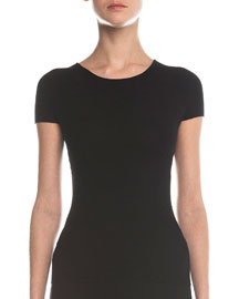 Ottoman-Knit Short-Sleeve Top, Black