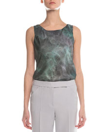 Scoop-Neck Marble-Print Top