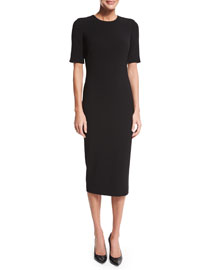 Half-Sleeve Crepe Sheath Dress, Black