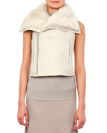 Long Hair Shearling Fur Vest