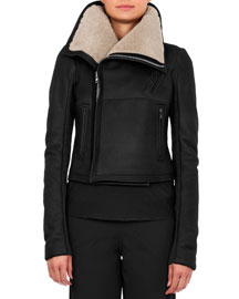 Short-Hair Shearling Fur Jacket, Black