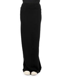 Banded Godet Pleated Column Skirt, Black