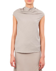 Bonnie Jersey Cowl-Neck T-Shirt, Pearl