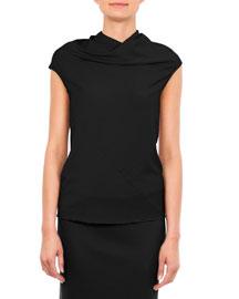 Bonnie Jersey Cowl-Neck T-Shirt, Black