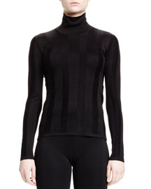 Ribbed Silk Turtleneck Sweater