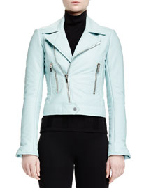Tabbed Leather Biker Jacket, Light Blue