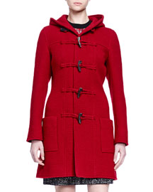 Hooded Toggle-Front Coat, Red