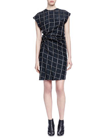 Grid-Print Side-Ruched Dress