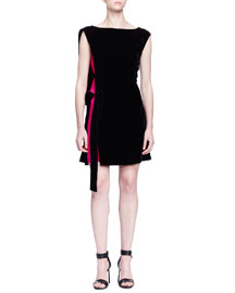 Contrast Inset Velvet Cocktail Dress