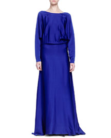 Dolman-Sleeve Washed Satin Gown