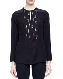 Crystal-Embroidered Slit-Keyhole Blouse