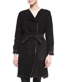Paneled Shearling Fur Mid-Length Coat