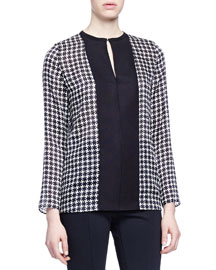 Houndstooth Contrast-Placket Blouse