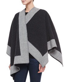 Wool-Cashmere Border Trimmed Cape, Gray