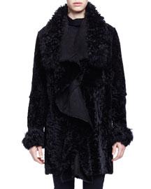 Draped Shearling Long Coat, Black