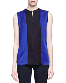 Sleeveless Colorblock Charmeuse Blouse