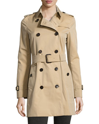 Modern-Fit Woven Trench Coat, Honey