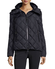 Bourg Hooded Diamond-Quilted Puffer Jacket, Navy