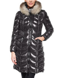 Bellete Fur-Trimmed Chevron-Quilted Puffer Coat, Charcoal