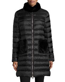 Ancy Quilted Puffer Coat w/Mink Fur Trim, Black