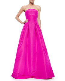 Strapless Colorblock Bow-Draped Gown