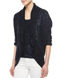 Shawl-Collar Sequined Cardigan