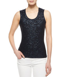 Sequined Ribbed Tank Top