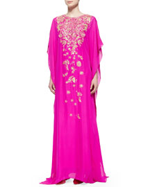 Metallic Embroidered Chiffon Caftan Gown