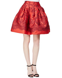 Lace-Print Box-Pleated Party Skirt