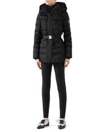 Black Down Jacket With Beaver Fur Trim