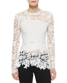 Long-Sleeve Floral Guipure Lace Blouse