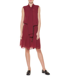 Tie-Neck Pleated Shift Dress