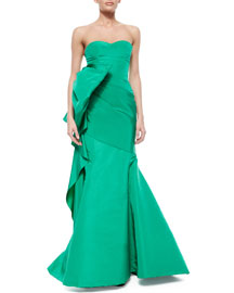 Strapless Oversized Bow Draped Gown