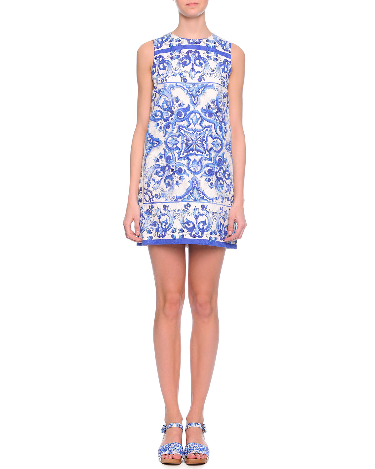 Tile-Print Shift Dress