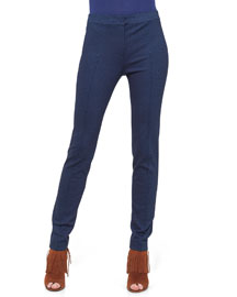 Full-Length Skinny Jersey Pants, Navy