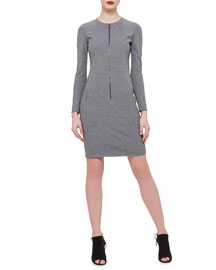 Long-Sleeve Zip-Front Jersey Dress, Silver