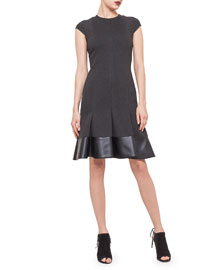 Cap-Sleeve Jersey Dress w/ Faux-Leather Hem