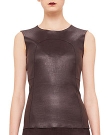Paneled Leather-Front Tank Top