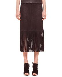 Long-Fringe Trimmed Suede Pencil Skirt