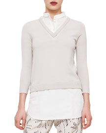 Three-Quarter-Sleeve V-Neck Sweater