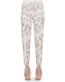 Abstract-Print Gym Pants, Cream