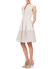 Perforated Fit-and-Flare Dress, Ivory