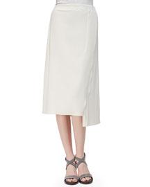 Asymmetric Side-Slit Midi Skirt