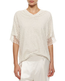 Cashmere Open Grid-Knit Sequined Top