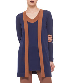 Contrast Trimmed Belted Cardigan