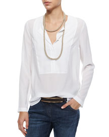 Long-Sleeve Georgette Henley Blouse