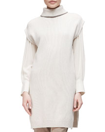 Monili-Beaded Cashmere Turtleneck Tunic Sweater, Stone